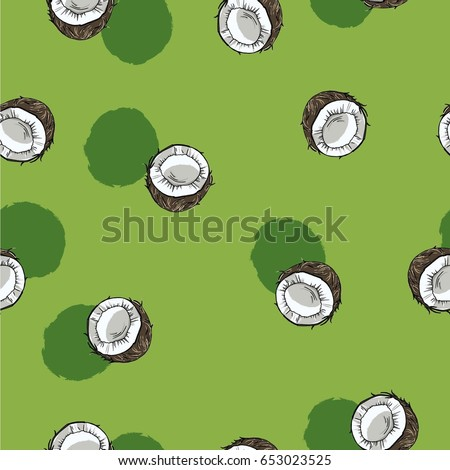 Seamless pattern with coconuts on pastel  green background with green backdrops. Hand drawn vector illustration.