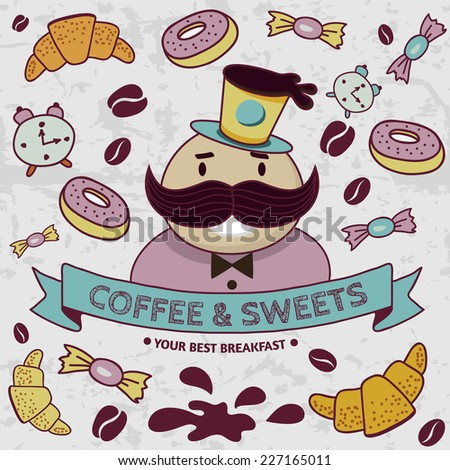 Seamless pattern with coffee and sweets. Vector hand-drawn illustration background. - stock vector