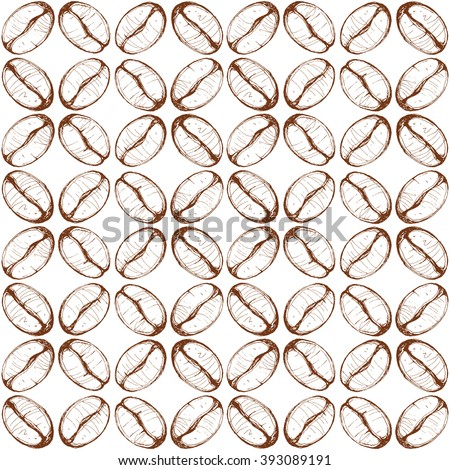 seamless pattern with coffee beans, sketch, vector drawing - stock vector
