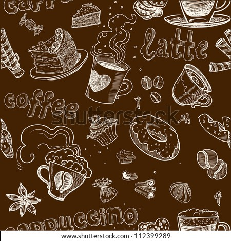 seamless pattern with coffee cakes pies latte and cappuccino on dark background - stock vector