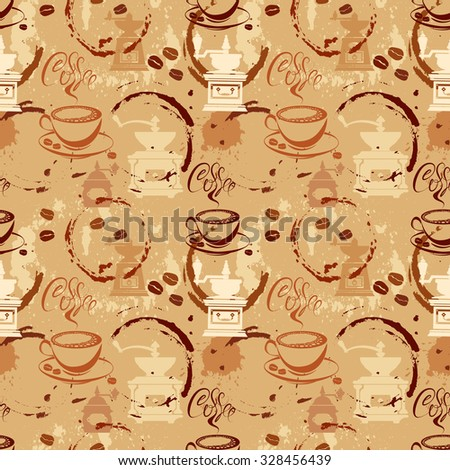 Seamless pattern with coffee cups, beans, grinder, coffee stain, calligraphic text COFFEE. Background design for cafe or restaurant menu. - stock vector