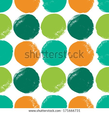 Seamless pattern with color grunge circles. Vector illustration - stock vector