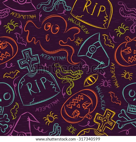 Seamless Pattern with color Halloween ghost, skull and  pumpkin - stock vector
