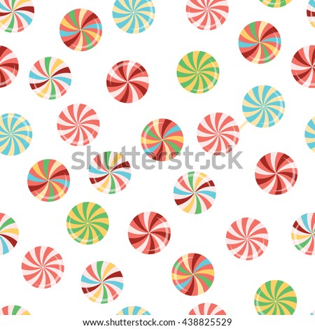 Seamless pattern with color lollipops. Candies and sweets background. Bright and colorful package design. - stock vector