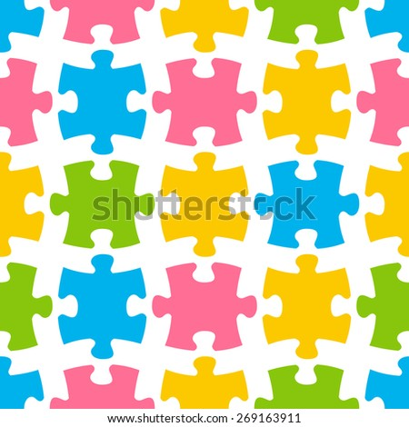 Seamless pattern with color puzzle