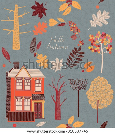 Seamless pattern with colored autumn leaves, trees and house.Vector illustration.