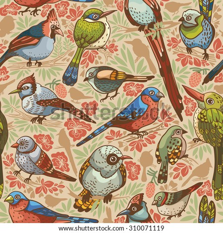 Seamless pattern with colored birds and flowers.  - stock vector