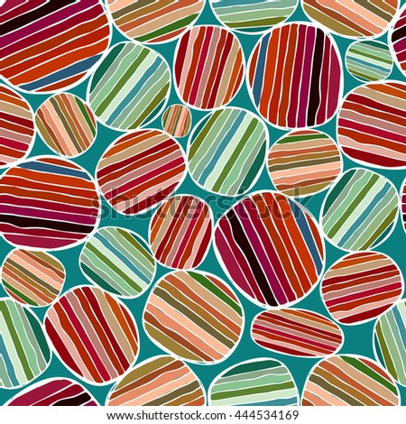 Seamless pattern with colored circles. Colored striped figure. Colored background with circles and stripes.