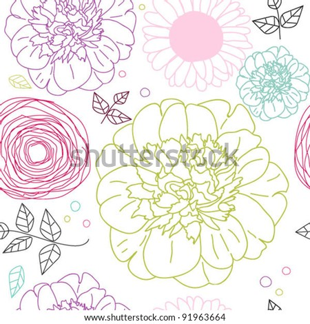 Seamless pattern with colored flowers on white background - stock vector
