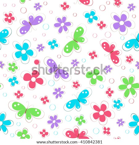 seamless pattern with colorful abstract flowers,  butterfly and spots   on white background , vector illustration - stock vector