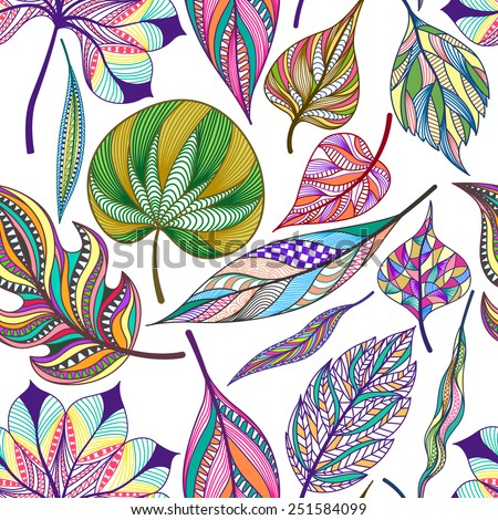 Seamless pattern with colorful abstract leaves. Vector illustration. - stock vector