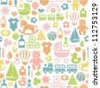 seamless pattern with colorful baby icons - stock photo