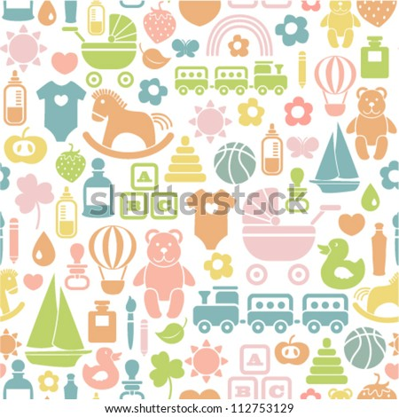 seamless pattern with colorful baby icons - stock vector