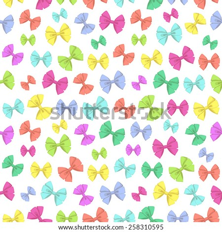 Seamless pattern with colorful big and small bows on white background