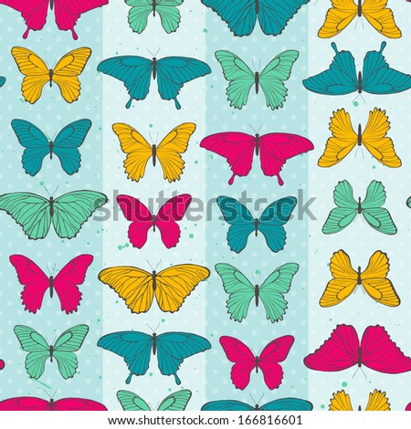 Seamless pattern with colorful butterflies. EPS 10 vector illustration.