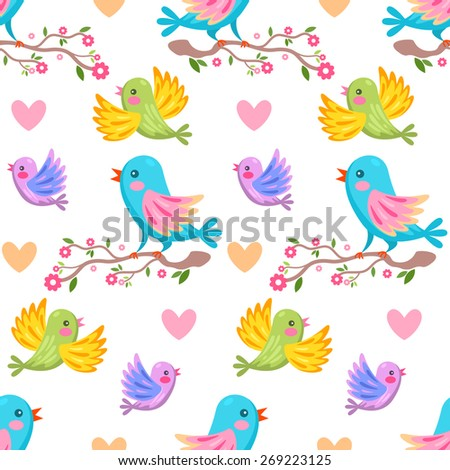 Seamless pattern with colorful cartoon birds with cherry blossom