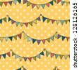 Seamless pattern with colorful childish bunting flags on polka dot background. Vector illustration. - stock vector