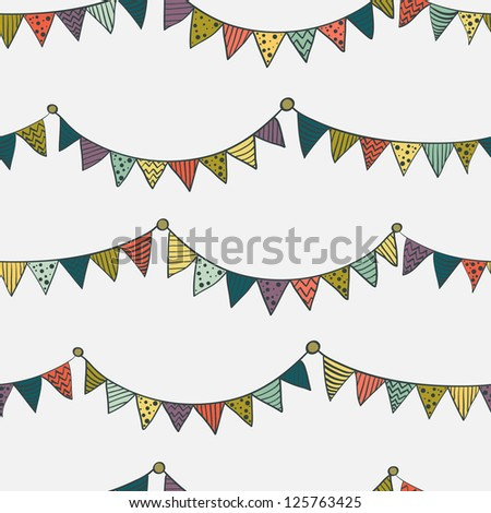 Seamless pattern with colorful childish bunting flags. Vector illustration. - stock vector