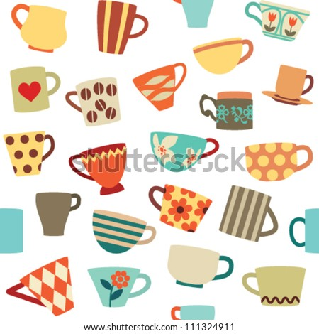 Seamless pattern with colorful cups - stock vector