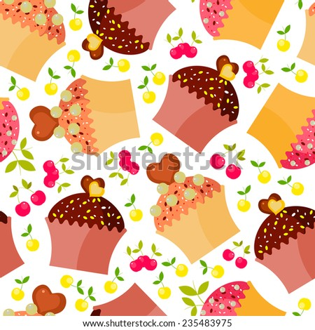 Seamless pattern with colorful delicious cupcakes and cherry.Vector sweets background.