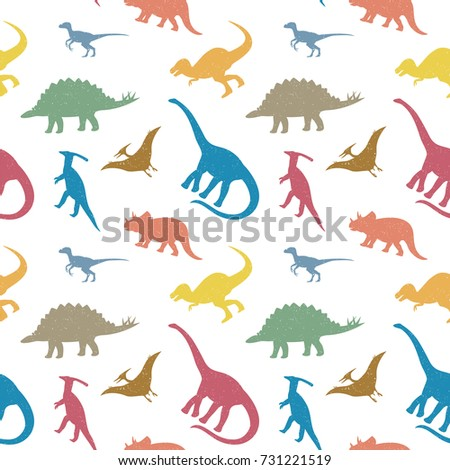 Seamless pattern with colorful dinosaur silhouettes.