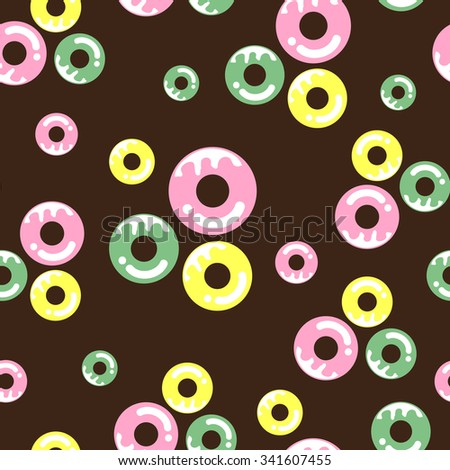 Seamless pattern with colorful donuts on brown background. Pink, green and yellow donuts. - stock vector