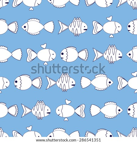 Seamless pattern with colorful fish.Tropical cartoon fish - stock vector