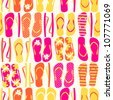 Seamless pattern with colorful flip flops. - stock photo