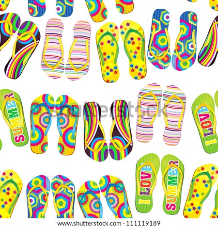 Seamless pattern with colorful flip flops.