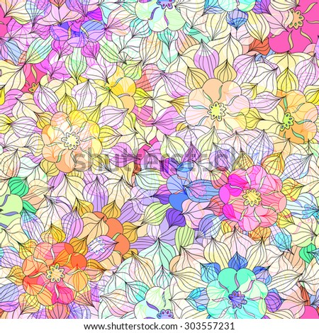 Seamless pattern with colorful Flower. Vector illustration 6 - stock vector