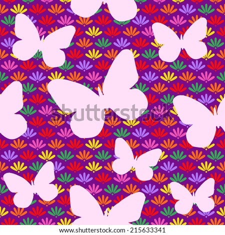 Seamless Pattern with Colorful Flowers and White Butterfly Silhouette. Vector Illustration - stock vector