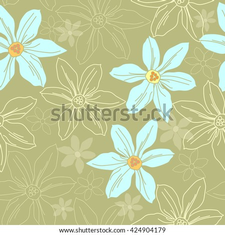 Seamless pattern with colorful flowers. Hand drawn floral texture.