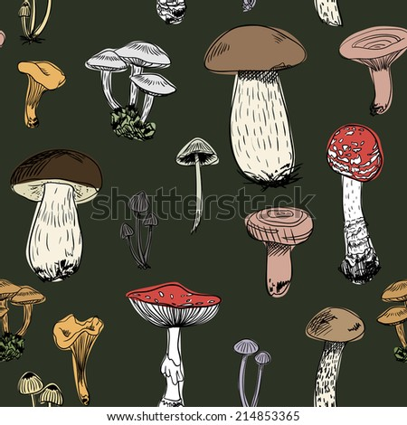 Seamless pattern with colorful forest mushrooms on green background