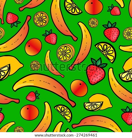 Seamless pattern with colorful fruit - stock vector