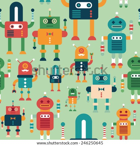 Seamless pattern with colorful funny robots. - stock vector