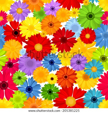 Seamless pattern with colorful gerbera flowers. Vector illustration.  - stock vector