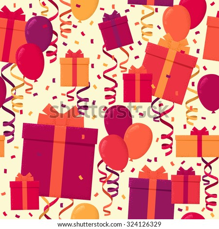 Seamless pattern with colorful gift boxes, paper streamer, confetti and multicolored balloons. Retro vector background - stock vector