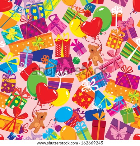 Seamless pattern with colorful gift boxes, presents, balloons and teddy bears on pink background.