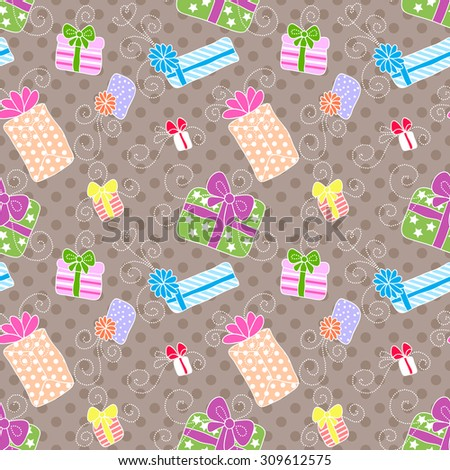 Seamless pattern with colorful gift boxes with bows - stock vector