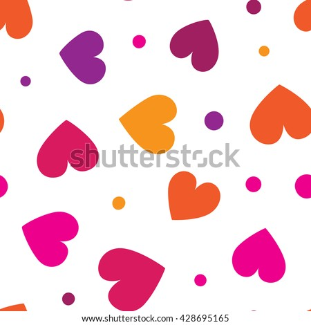 Seamless pattern with colorful hearts and dots on a white background. Vector repeating texture. - stock vector