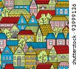 Seamless pattern with colorful houses - stock vector