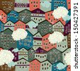 Seamless pattern with colorful houses. Endless floral pattern in autumnal theme - stock photo