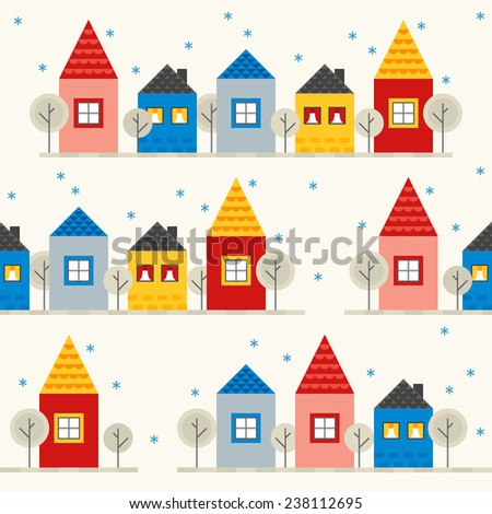 Seamless pattern with colorful houses in winter in Red, Pink, Yellow, Blue, Grey and Beige. Perfect for Christmas wrapping paper, textile print, web page background, greeting cards and invitations. - stock vector
