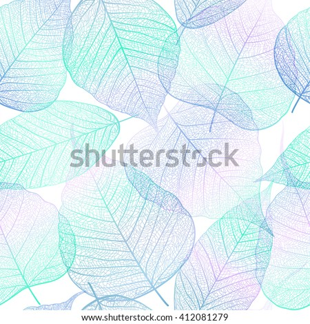 Seamless pattern with colorful leaves. Vector, EPS10. - stock vector