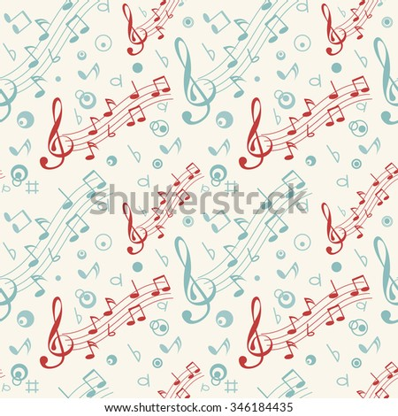 Seamless pattern with colorful musical notes on white background - stock vector