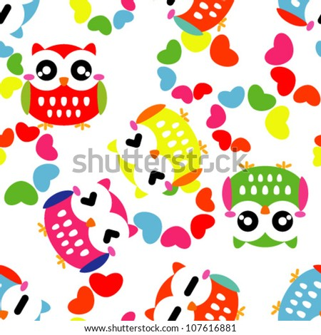 Seamless pattern with colorful owls - stock vector