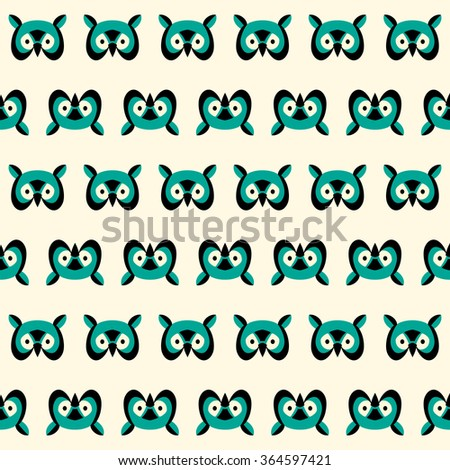 Seamless pattern with colorful owls head - stock vector