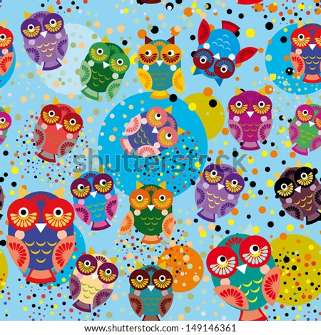 Seamless pattern with colorful owls on a blue background. vector - stock vector