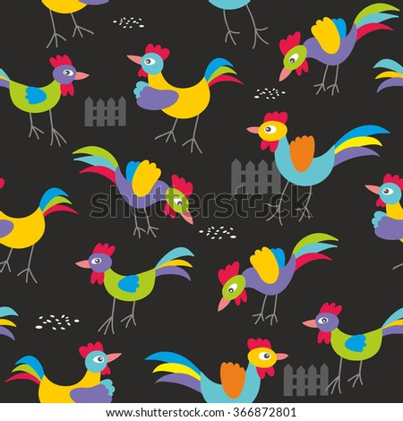 Seamless pattern with colorful roosters. Cock background in vector. - stock vector