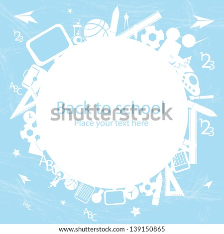 seamless pattern with colorful school icons on background with media icons - stock vector